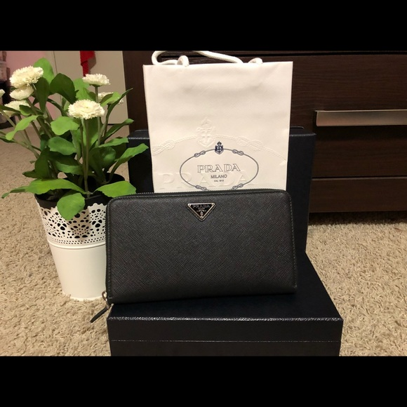 17580a9727bf Prada Bags | Authentic Large Saffiano Leather Wallet | Poshmark